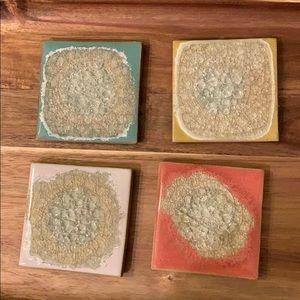 Anthropologie Coasters Set of 4